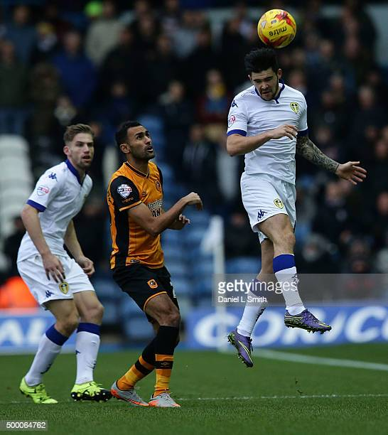 Alex Mowatt of Leeds United FC heads the ball during the Sky Bet Championship League match between Leeds United FC and Hull City FC on December 5...