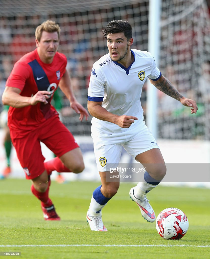 Alex Mowatt of Leeds United moves away with the ball during the pre season friendly match between York City and Leeds United at Bootham Crescent on July 15, 2015 in York, England.