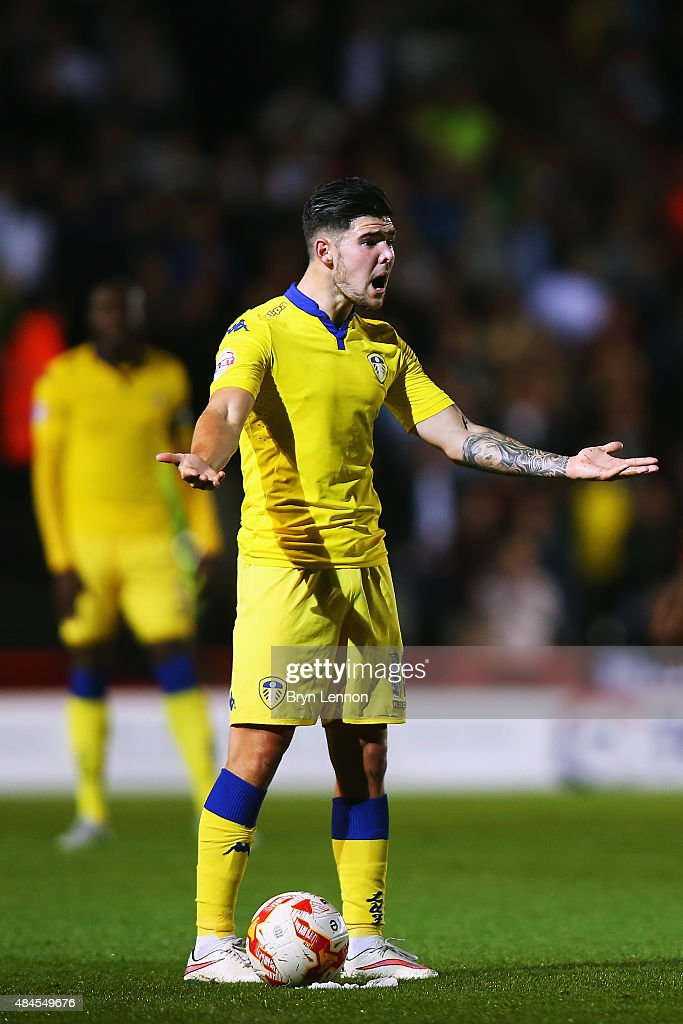 Alex Mowatt of Leeds United reacts during the Sky Bet Championship match between Bristol City and Leeds United at Ashton Gate on August 19, 2015 in Bristol, England.