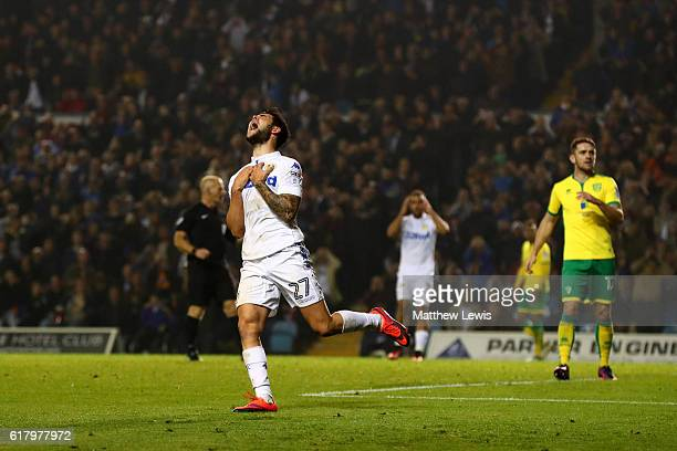 Alex Mowatt of Leeds United reacts to missing a chanceduring the EFL Cup fourth round match between Leeds United and Norwich City at Elland Road on...