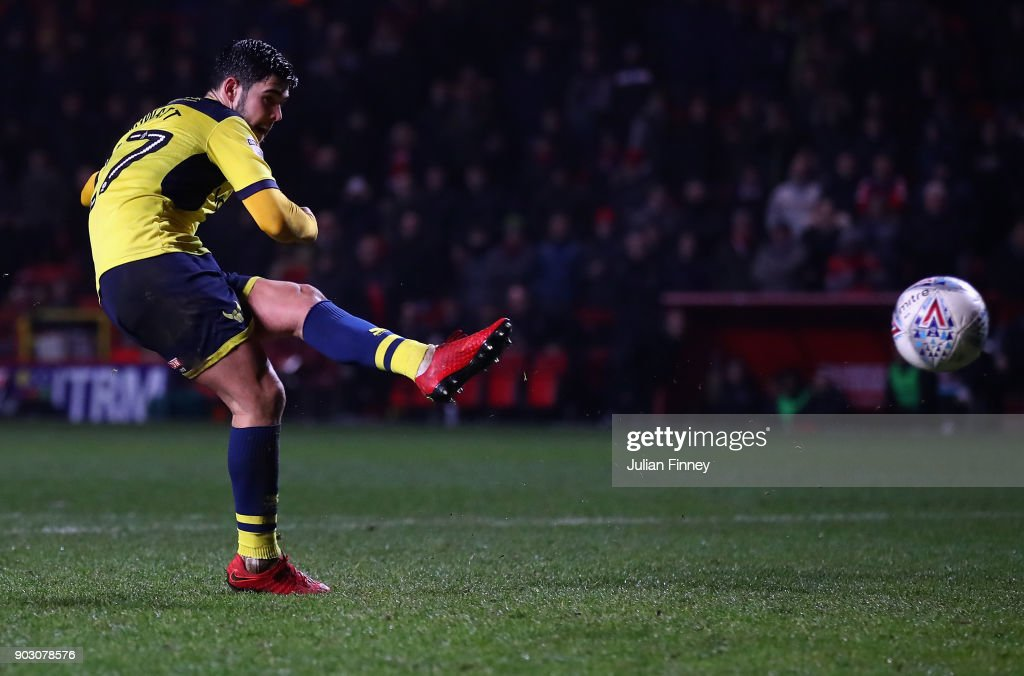 Alex Mowatt of Oxford scores a penalty in the shoot out which they eventually win after the final score was 1-1 during the EFL Checkatrade Trophy Third Round match between Charlton Athletic and Oxford United at The Valley on January 9, 2018 in London, England.