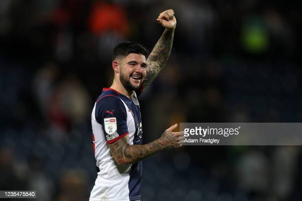 Alex Mowatt of West Bromwich Albion fist-pumps the West Bromwich Albion Fans at the end of the match as he celebrates the 2-1 win in the Sky Bet...