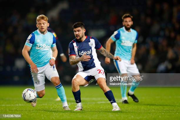 Alex Mowatt of West Bromwich Albion passes the ball during the Sky Bet Championship match between West Bromwich Albion and Derby County at The...
