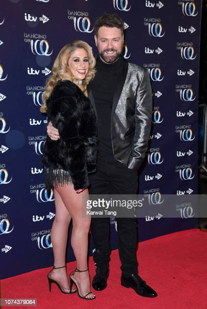 Alex Murphy and Brian McFadden attend a photocall for the new series of Dancing On Ice at Natural History Museum Ice Rink on December 18 2018 in...