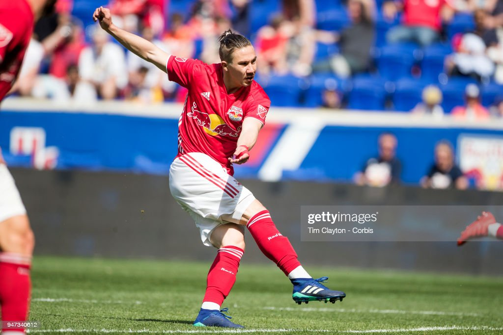 Alex Muyl #19 of New York Red Bulls shoots during the New York Red Bulls Vs Montreal Impact MLS regular season game at Red Bull Arena on April 14, 2018 in Harrison, New Jersey.