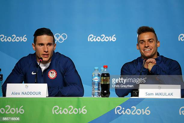 Alex Naddour and Sam Mikulak of the United States speaks with the media during a press conference at the Main Press Centre ahead of the Rio 2016...