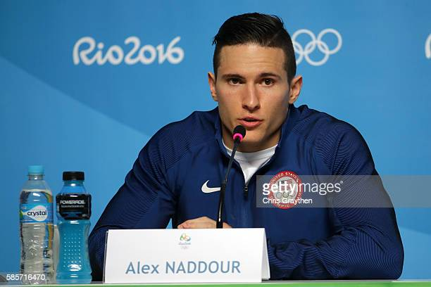Alex Naddour of the United States speaks with the media during a press conference at the Main Press Centre ahead of the Rio 2016 Olympic Games on...