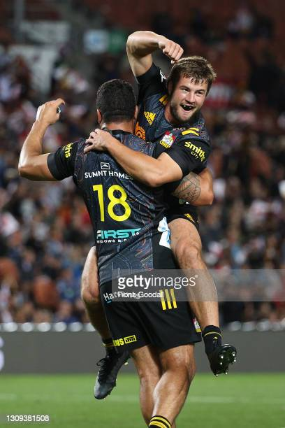 Alex Nankivell of the Chiefs celebrates the last minute win during the round 5 Super Rugby Aotearoa match between the Chiefs and the Blues at FMG...