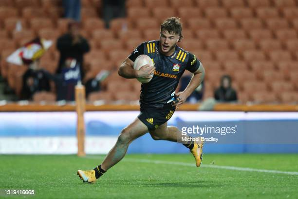 Alex Nankivell of the Chiefs runs in a try during the round two Super Rugby Trans-Tasman match between the Chiefs and the ACT Brumbies at FMG Stadium...