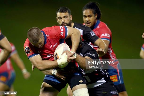 Alex Nankivelly of Tasman is tackled during the round 5 Mitre 10 Cup match between Counties Manukau and Tasman on September 06, 2019 in Pukekohe, New...