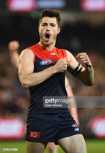 Alex NealBullen of the Demons celebrates kicking a goal during the AFL First Elimination Final match between the Melbourne Demons and the Geelong...