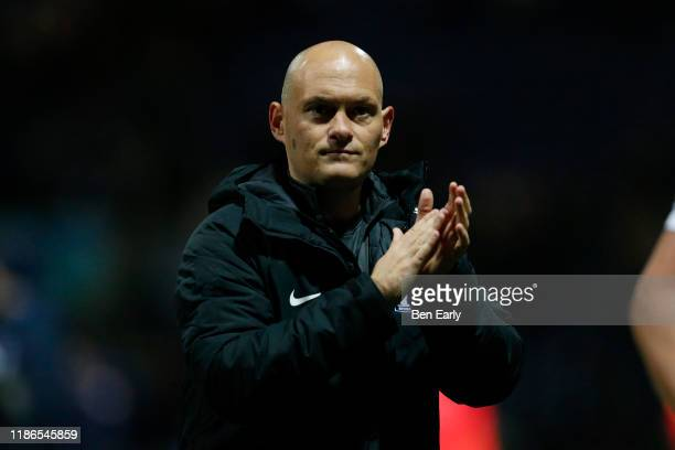 Alex Neil Manager / Head Coach of Preston North End applauds fans after the Sky Bet Championship match between Preston North End and Huddersfield...