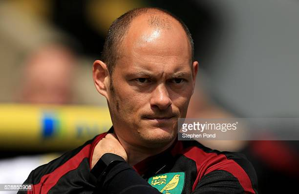 Alex Neil Manager of Norwich City is seen prior to the Barclays Premier League match between Norwich City and Manchester United at Carrow Road on May...