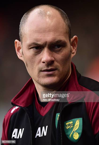 Alex Neil manager of Norwich City looks on before the Barclays Premier League match between Tottenham Hotspur and Norwich City at White Hart Lane on...