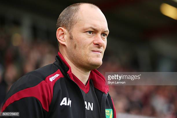Alex Neil Manager of Norwich City looks on prior to the Barclays Premier League match between AFC Bournemouth and Norwich City at the Vitality...