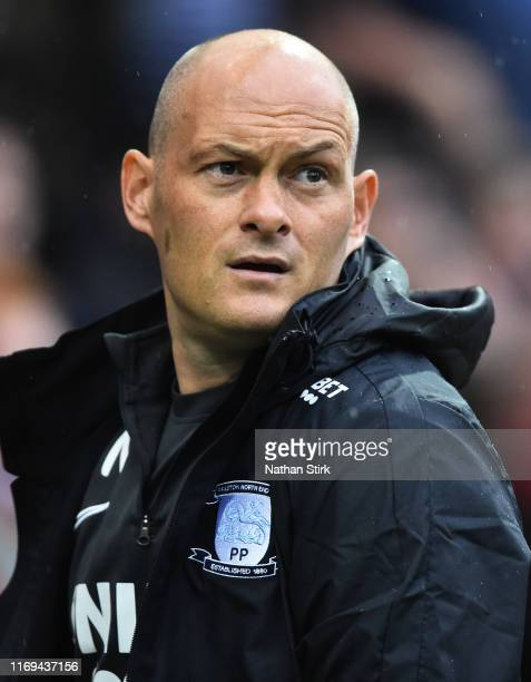 Alex Neil manager of Preston looks on during the Sky Bet Championship match between Preston North End and Reading at Deepdale on August 21 2019 in...