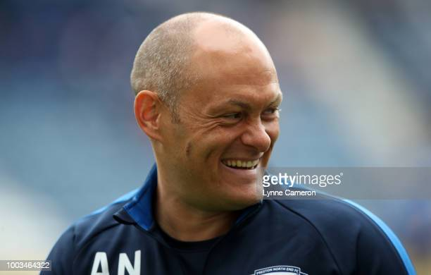 Alex Neil manager of Preston North End during the PreSeason Friendly between Preston North End and West Ham United at Deepdale on July 21 2018 in...