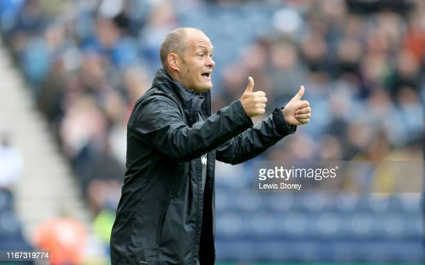 Alex Neil manager of Preston North End gestures during the Sky Bet Championship match between Preston North End and Wigan Athletic at Deepdale on...