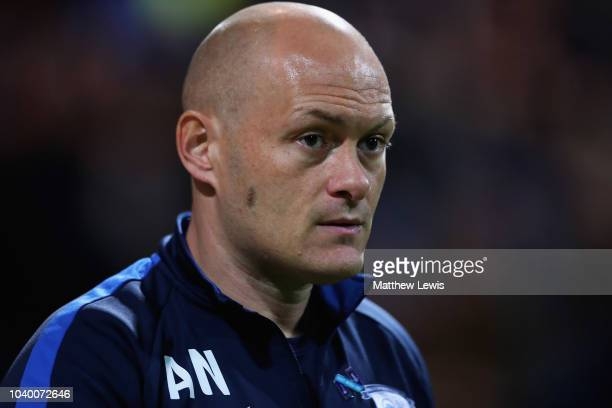 Alex Neil manager of Preston North End looks on during the Carabao Cup Third Round match between Preston North End and Middlesbrough at Deepdale on...