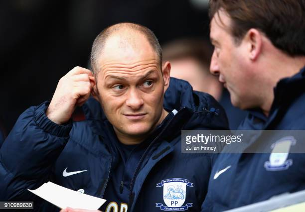 Alex Neil Manager of Preston North End looks on prior to The Emirates FA Cup Fourth Round match between Sheffield United and Preston North End at...
