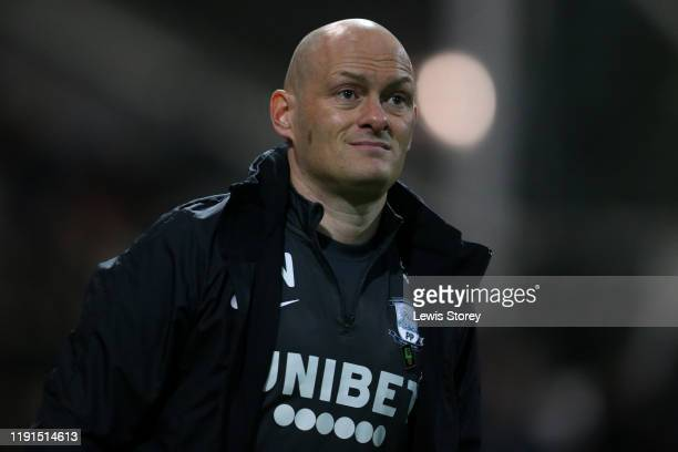 Alex Neil manager of Preston North End looks on prior to the Sky Bet Championship match between Preston North End and West Bromwich Albion at...