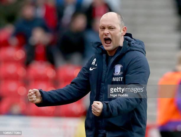 Alex Neil manager of Preston North End reacts after his team scored during the Sky Bet Championship match between Stoke City and Preston North End at...