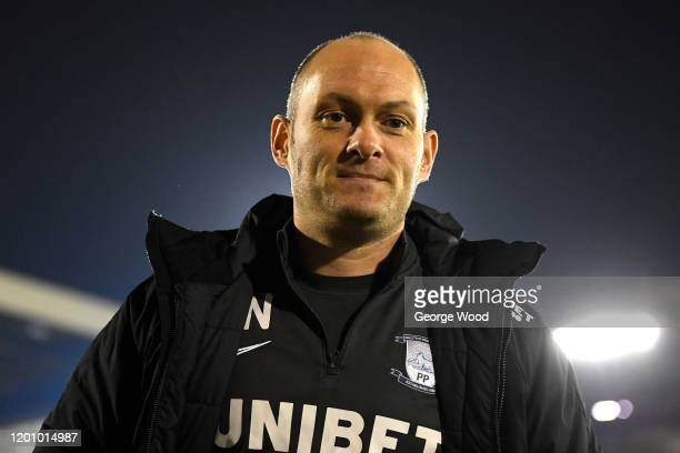 Alex Neil manager of Preston North End reacts ahead of the Sky Bet Championship match between Barnsley and Preston North End at Oakwell Stadium on...