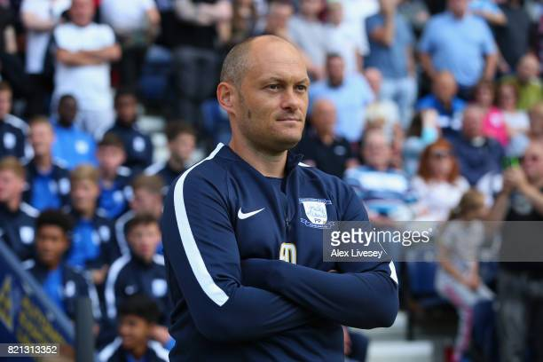 Alex Neil the manager of Preston North End looks on during a preseason friendly match between Preston North End and Newcastle United at Deepdale on...
