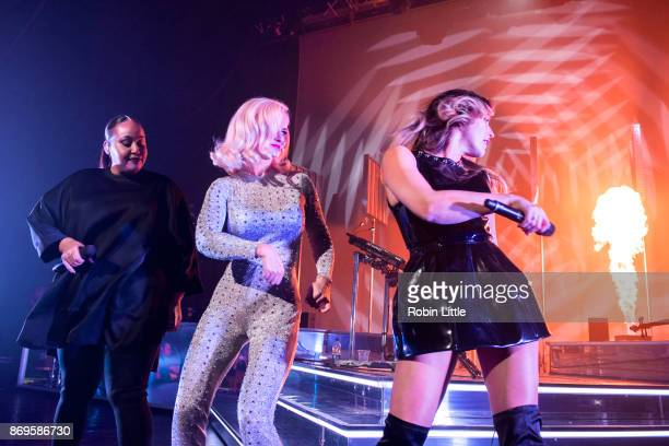 Alex Newell Grace Chatto and Kirsten Joy Clean Bandit perform live on stage at the Eventim Apollo Hammersmith on November 2 2017 in London England