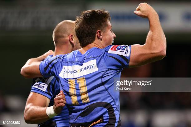 Alex Newsome of the Force celebrates a try with Billy Meakes during the round 16 Super Rugby match between the Force and the Rebels at nib Stadium on...
