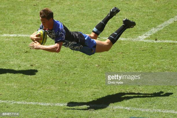 Alex Newsome of the Force scores a try during the Rugby Global Tens match between Force and Bulls at Suncorp Stadium on February 12 2017 in Brisbane...