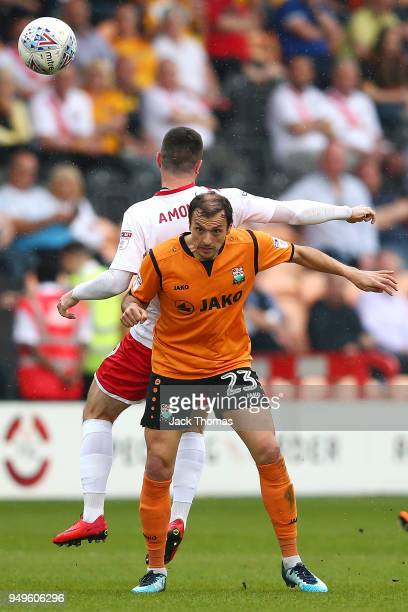 Alex Nicholls of Barnet FC and Padraig Amond of Newport County AFC in action during the Sky Bet League Two match between Barnet FC and Newport County...
