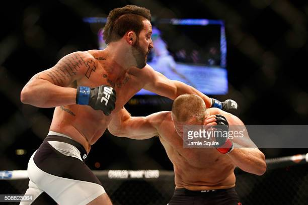 Alex Nicholson fights Misha Cirkunov of Latvia in their light heavyweight bout during the UFC Fight Night event at MGM Grand Garden Arena on February...