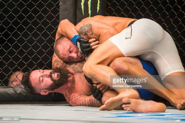 Alex Nicholson pinned by Jack Hermansson during the UFC Fight Night event at Ericsson Globe on May 28 2017 in Stockholm Sweden