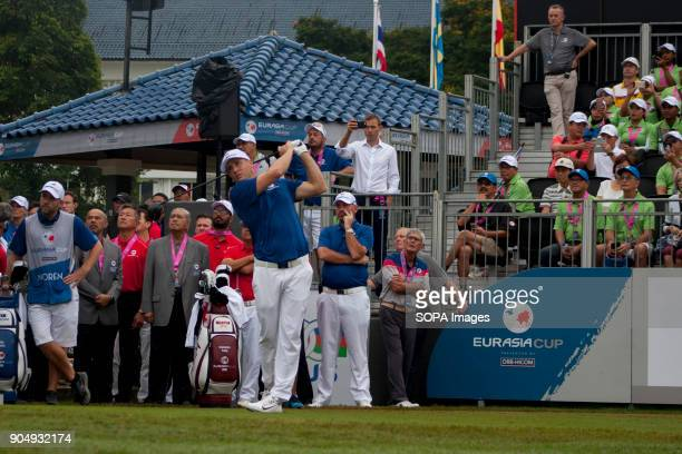 Alex Noren is seen taking a shot on the first game from hole one on the last day at EurAsia Cup 2018 EurAsia Cup is a biennial men professional team...