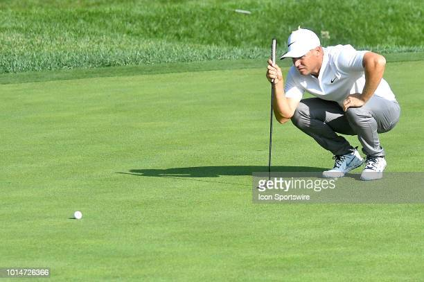 Alex Noren lines up a putt on the green during the second round of the PGA Championship on August 10 at Bellerive Country Club St Louis MO