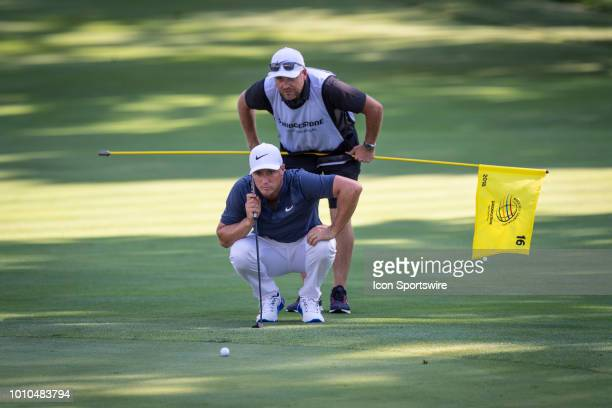 Alex Noren lines up his putt on the 16th green during the second round of the WGCBridgestone Invitational on August 3 2018 at the Firestone Country...