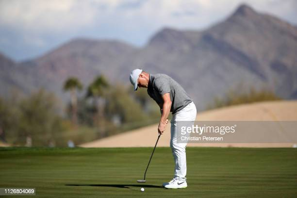 Alex Noren of Sweden attempts a putt on the 15th green during the second round of the Waste Management Phoenix Open at TPC Scottsdale on February 01...