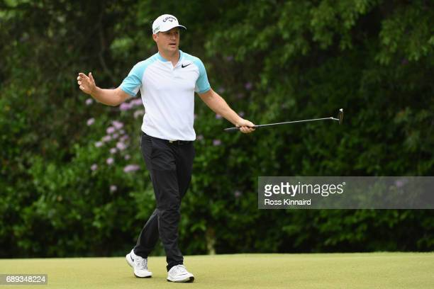 Alex Noren of Sweden celebrates a birdie on the 16th green during day four of the BMW PGA Championship at Wentworth on May 28 2017 in Virginia Water...