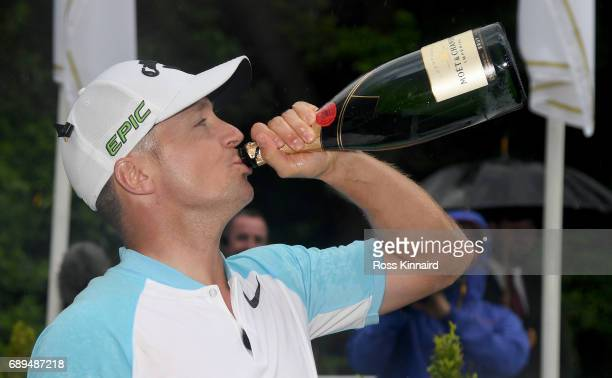 Alex Noren of Sweden celebrates the final round of the BMW PGA Championship on the West Course at Wentworth on May 28 2017 in Virginia Water England