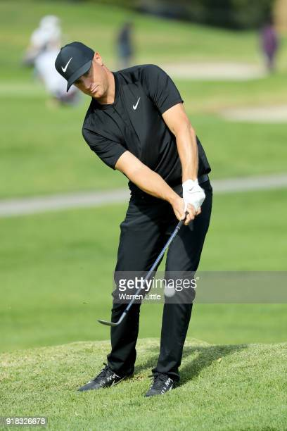 Alex Noren of Sweden competes during the ProAm of the Genesis Open at the Riviera Country Club on February 14 2018 in Pacific Palisades California
