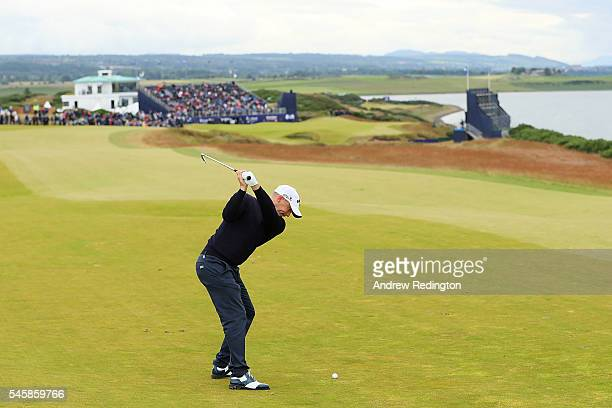 Alex Noren of Sweden hits his 2nd shot on the 18th hole during the final round of the AAM Scottish Open at Castle Stuart Golf Links on July 10 2016...