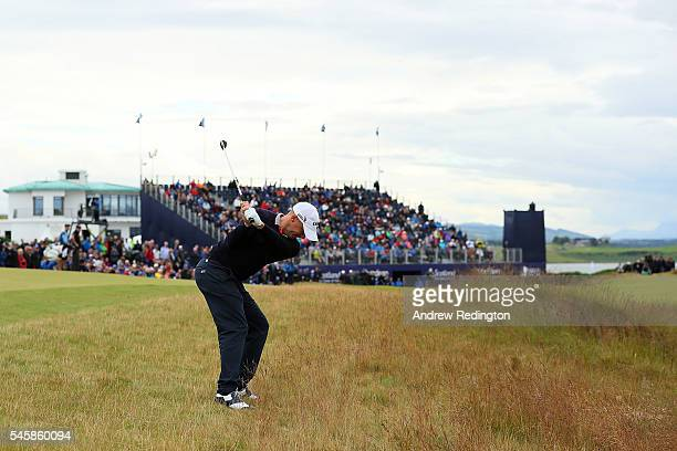 Alex Noren of Sweden hits his 3rd shot on the 18th hole during the final round of the AAM Scottish Open at Castle Stuart Golf Links on July 10 2016...