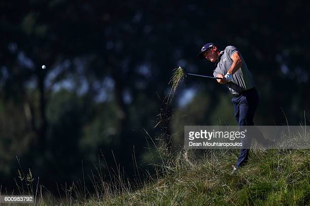 Alex Noren of Sweden hits his second shot on the 18th during the second round on day two of the KLM Open at The Dutch on September 9 2016 in Spijk...