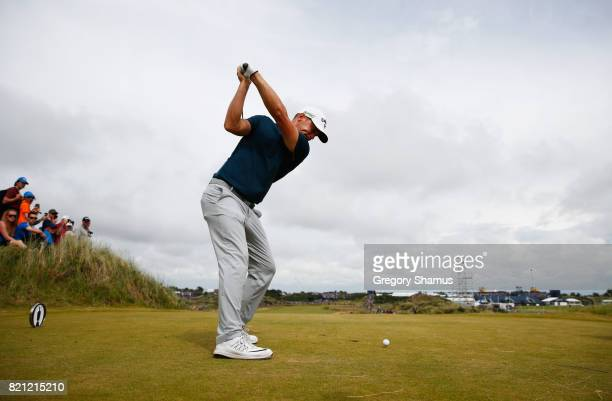 Alex Noren of Sweden hits his tee shot on the 13th hole during the final round of the 146th Open Championship at Royal Birkdale on July 23 2017 in...
