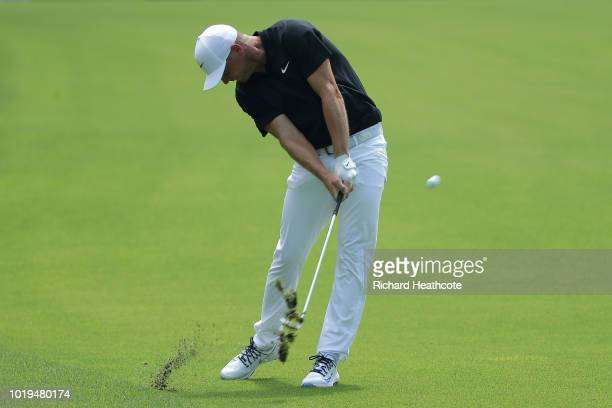 Alex Noren of Sweden in action during the first round of the 2018 PGA Championship at Bellerive Country Club on August 9 2018 in St Louis Missouri