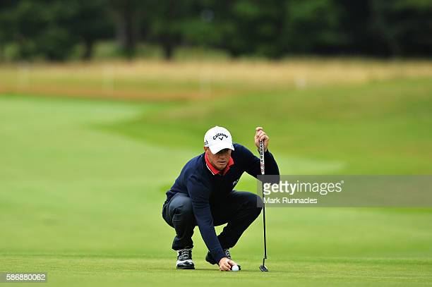 Alex Noren of Sweden lines up a putt on hole 1 on day four of the Aberdeen Asset Management Paul Lawrie Matchplay at Archerfield Links Golf Club on...