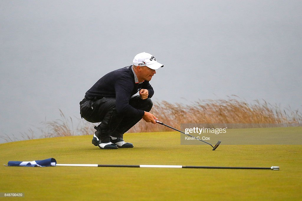 Alex Noren of Sweden lines up a putt on the 18th green during the third round of the AAM Scottish Open at Castle Stuart Golf Links on July 9, 2016 in Inverness, Scotland.