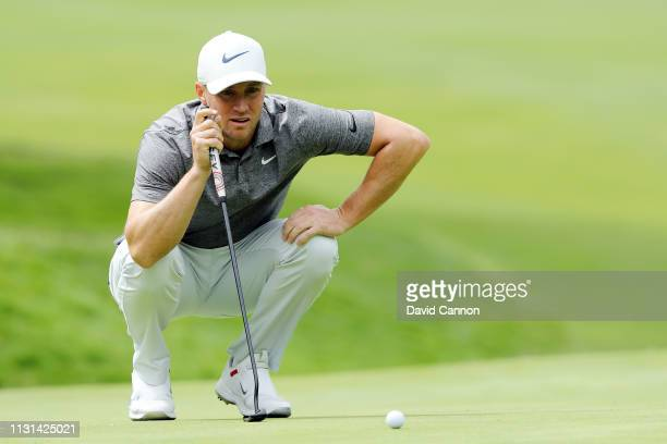 Alex Noren of Sweden lines up a putt on the first green during the second round of World Golf ChampionshipsMexico Championship at Club de Golf...