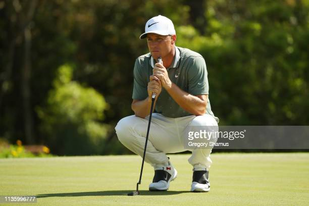 Alex Noren of Sweden looks over a putt on the 14th green during the second round of The PLAYERS Championship on The Stadium Course at TPC Sawgrass on...